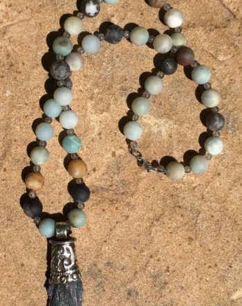 Black Kyanite Rainbow Amazonite Necklace Sacred Art