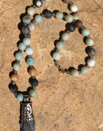 Black Kyanite Rainbow Amazonite Necklace Sacred Art