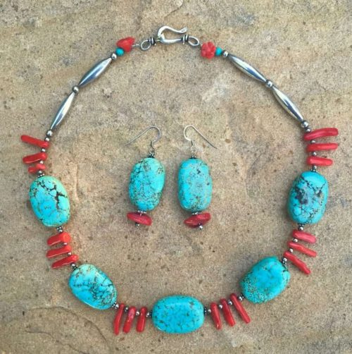 Turquoise Coral Earrings Necklace Sacred Art