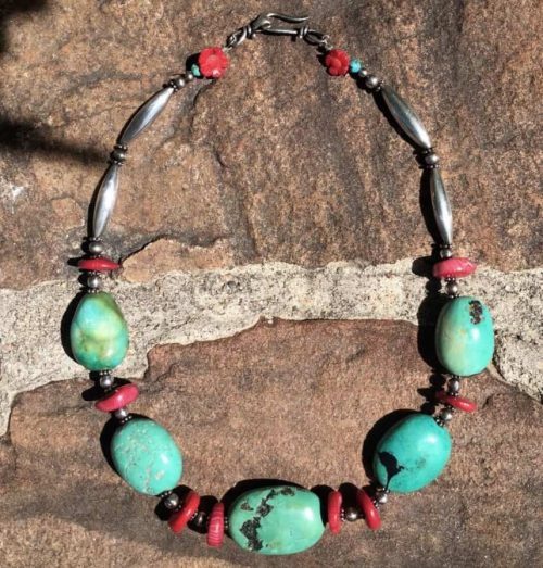 Turquoise Coral Choker Sacred Art Necklace
