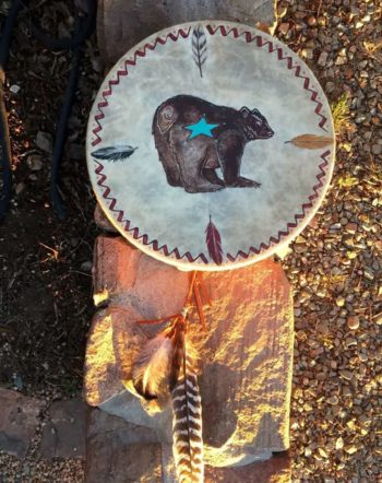 Blue Star Bear Drum Sacred Art