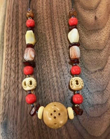 bakelite wood choker jewelry sacred art