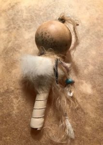 baby gourd rattle white leather front