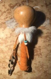 gord rattle with feathers bone turquoise