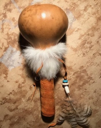 gourd rattle owl feathers